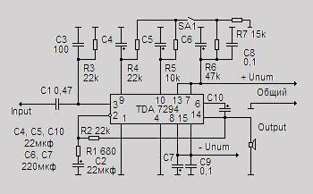 Интегральная микросхема TDA 7294 фирмы SGS-Thomson представляет собой...